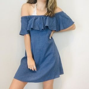 Madewell chambray off shoulder dress
